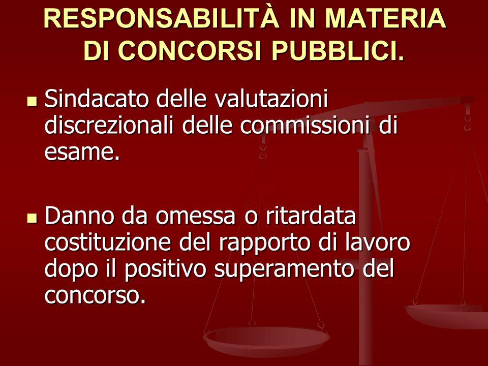 RESPONSABILITÀ IN MATERIA DI CONCORSI PUBBLICI.