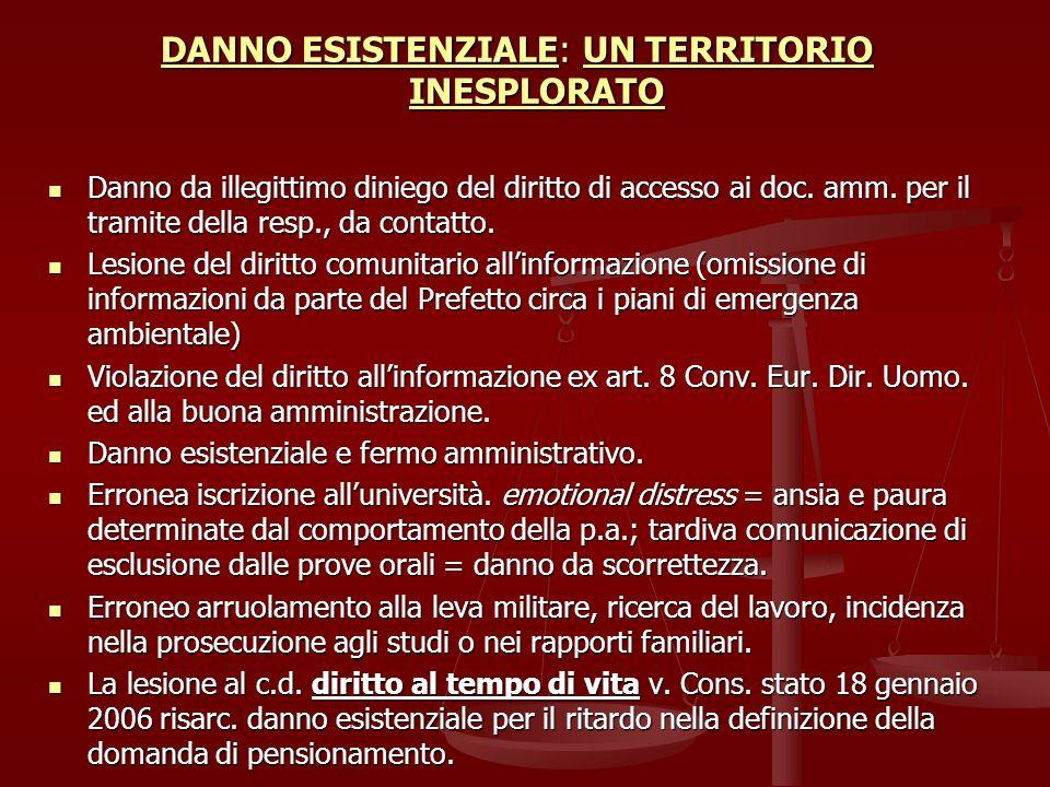 DANNO ESISTENZIALE: UN TERRITORIO INESPLORATO Danno da illegittimo diniego del diritto di accesso ai doc.