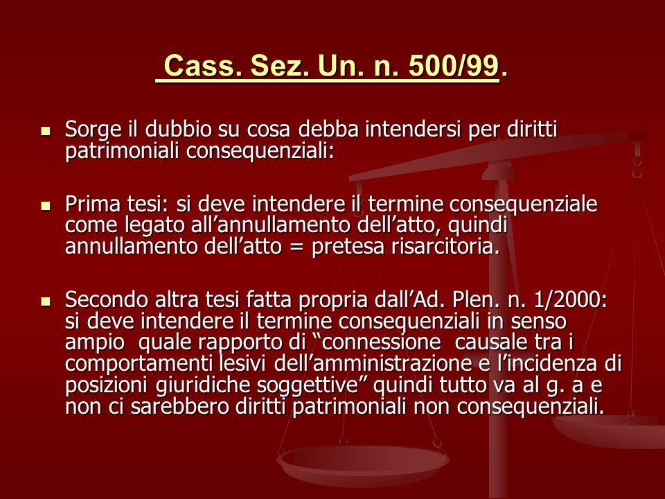 Cass.Sez. Un. n. 500/99. Cass. Sez. Un. n. 500/99.