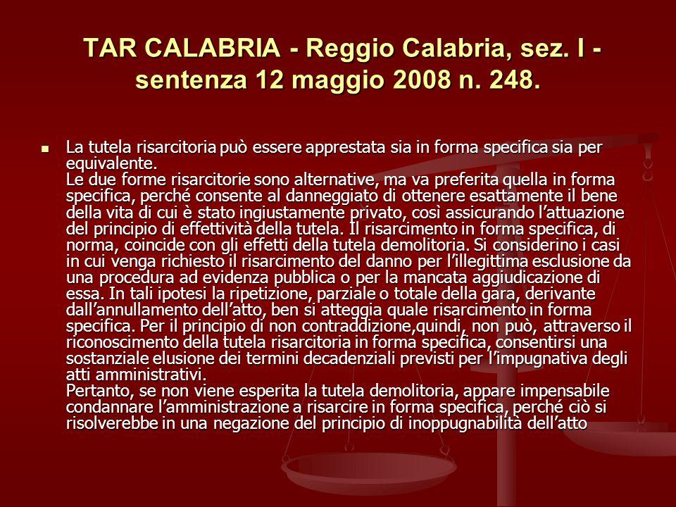 TAR CALABRIA - Reggio Calabria, sez.I - sentenza 12 maggio 2008 n.