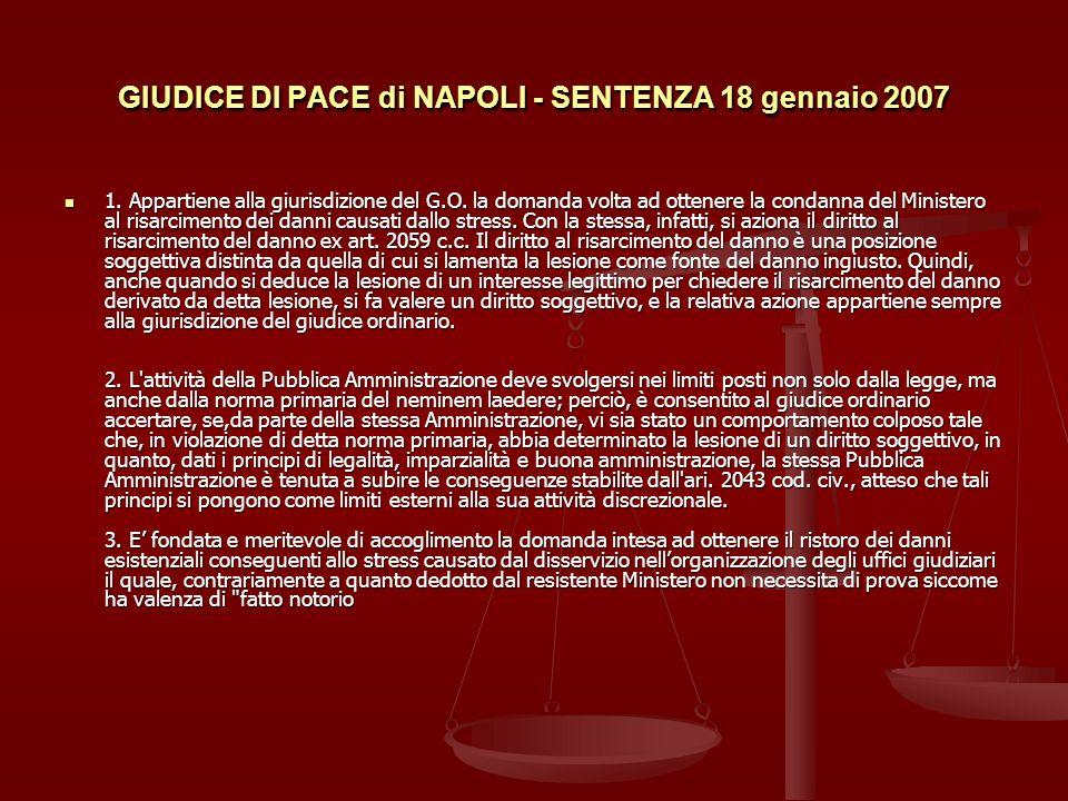 GIUDICE DI PACE di NAPOLI - SENTENZA 18 gennaio 2007 1.