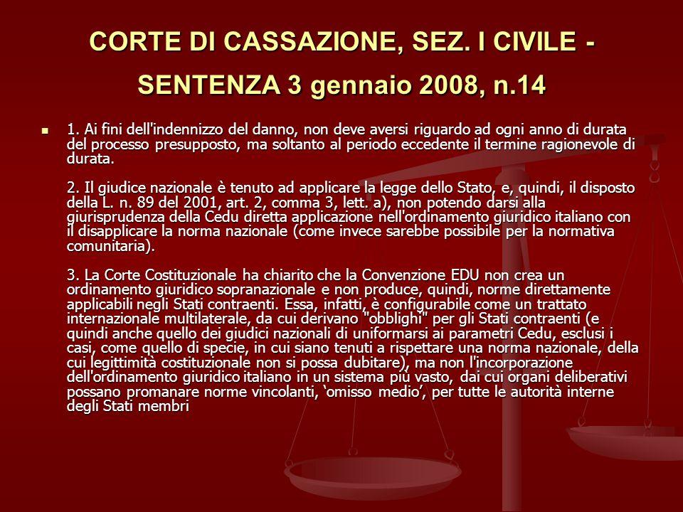 CORTE DI CASSAZIONE, SEZ.I CIVILE - SENTENZA 3 gennaio 2008, n.14 1.