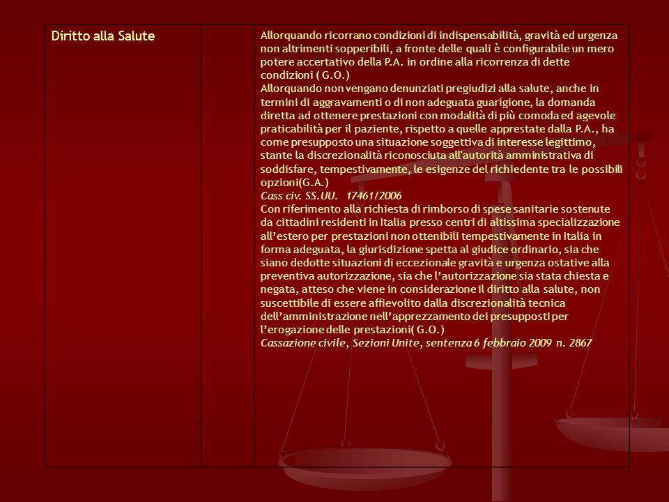 Diritto alla Salute Allorquando ricorrano condizioni di indispensabilità, gravità ed urgenza non altrimenti sopperibili, a fronte delle quali è configurabile un mero potere accertativo della P.A.
