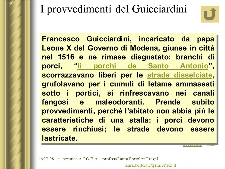 laura.bortolani@sincretech.it Indice 1997-98 cl. seconda A I.G.E.A. prof.ssa Laura Bortolani Fregni Riflessi di acque chiare e scure Storia in filigra