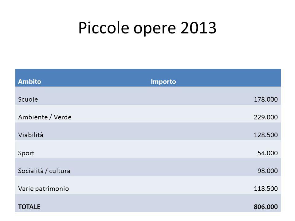 Piccole opere 2013 AmbitoImporto Scuole178.000 Ambiente / Verde229.000 Viabilità128.500 Sport54.000 Socialità / cultura98.000 Varie patrimonio118.500 TOTALE806.000