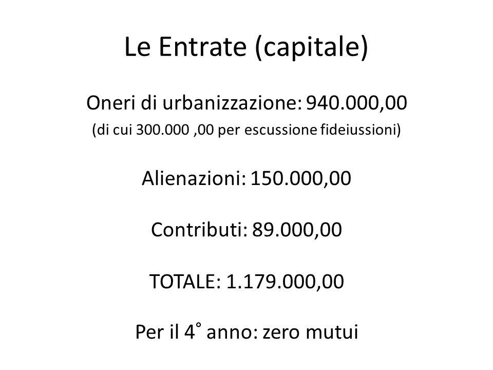 Le Entrate (capitale) Oneri di urbanizzazione: 940.000,00 (di cui 300.000,00 per escussione fideiussioni) Alienazioni: 150.000,00 Contributi: 89.000,00 TOTALE: 1.179.000,00 Per il 4° anno: zero mutui