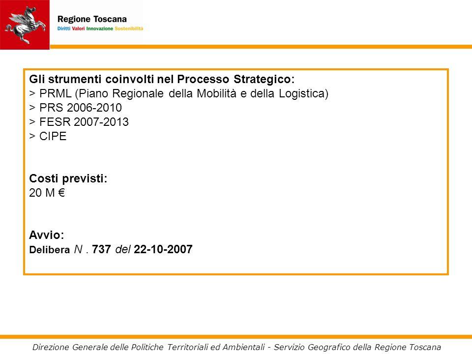 Direzione Generale delle Politiche Territoriali ed Ambientali - Servizio Geografico della Regione Toscana Gli strumenti coinvolti nel Processo Strategico: > PRML (Piano Regionale della Mobilità e della Logistica) > PRS 2006-2010 > FESR 2007-2013 > CIPE Costi previsti: 20 M Avvio: Delibera N.