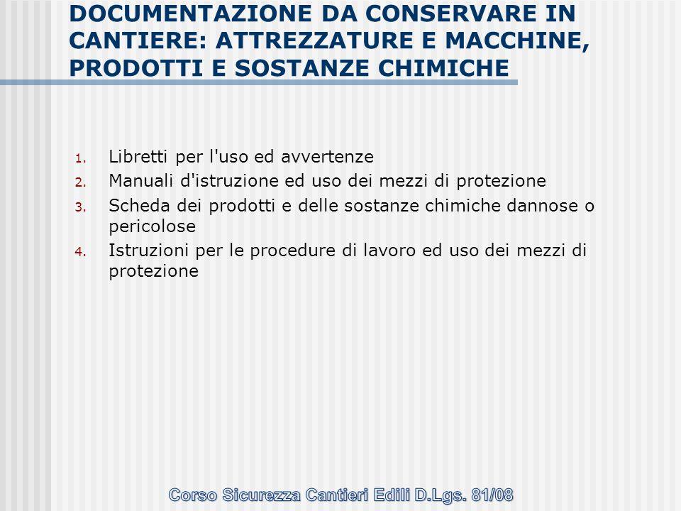 1. Libretti per l'uso ed avvertenze 2. Manuali d'istruzione ed uso dei mezzi di protezione 3. Scheda dei prodotti e delle sostanze chimiche dannose o