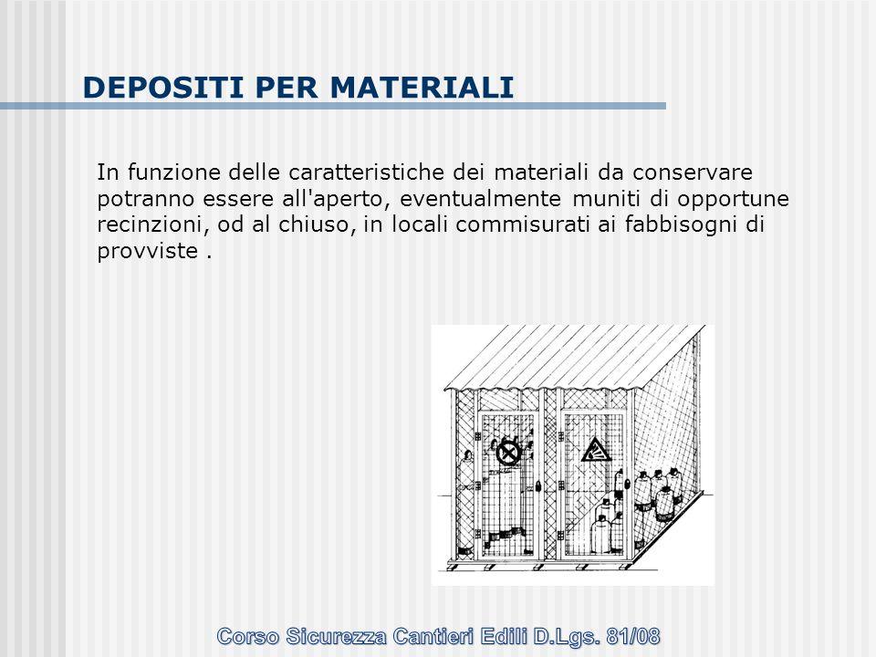 DEPOSITI PER MATERIALI In funzione delle caratteristiche dei materiali da conservare potranno essere all'aperto, eventualmente muniti di opportune rec
