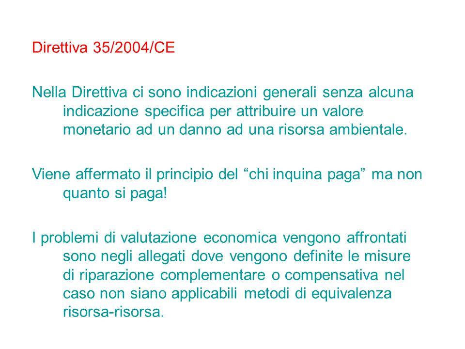 Direttiva 35/2004/CE Nella Direttiva ci sono indicazioni generali senza alcuna indicazione specifica per attribuire un valore monetario ad un danno ad