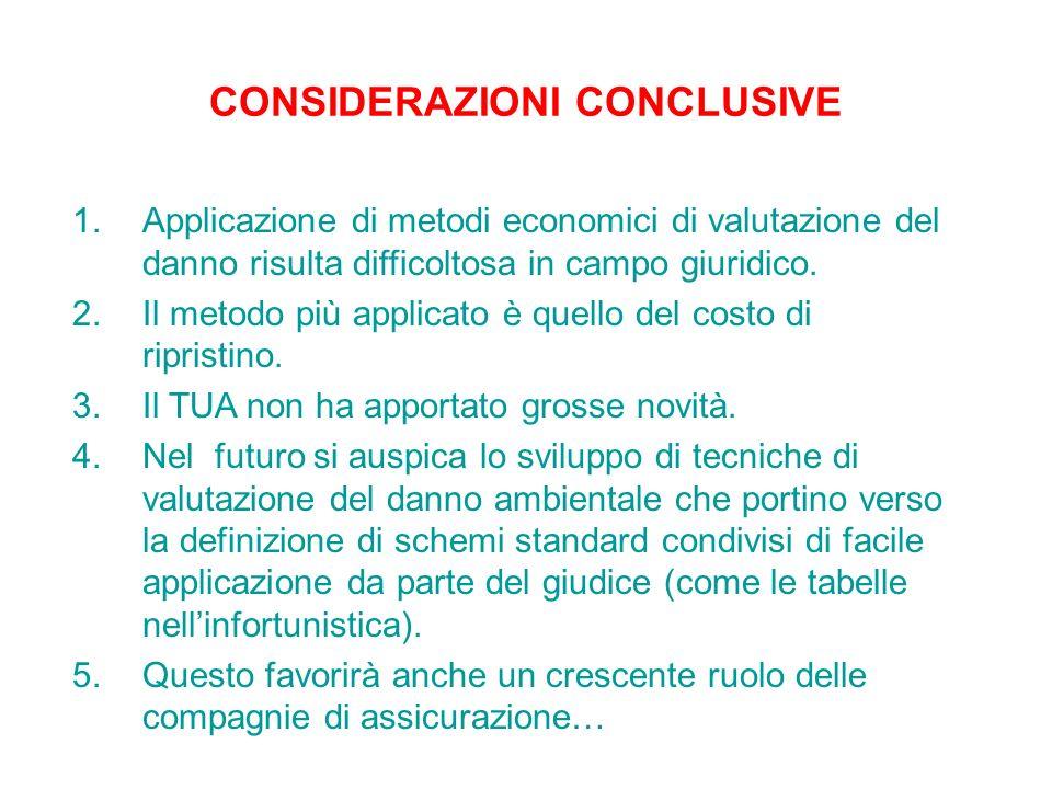 1.Applicazione di metodi economici di valutazione del danno risulta difficoltosa in campo giuridico. 2.Il metodo più applicato è quello del costo di r
