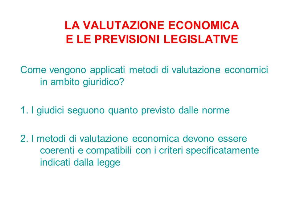 Come vengono applicati metodi di valutazione economici in ambito giuridico? 1. I giudici seguono quanto previsto dalle norme 2. I metodi di valutazion