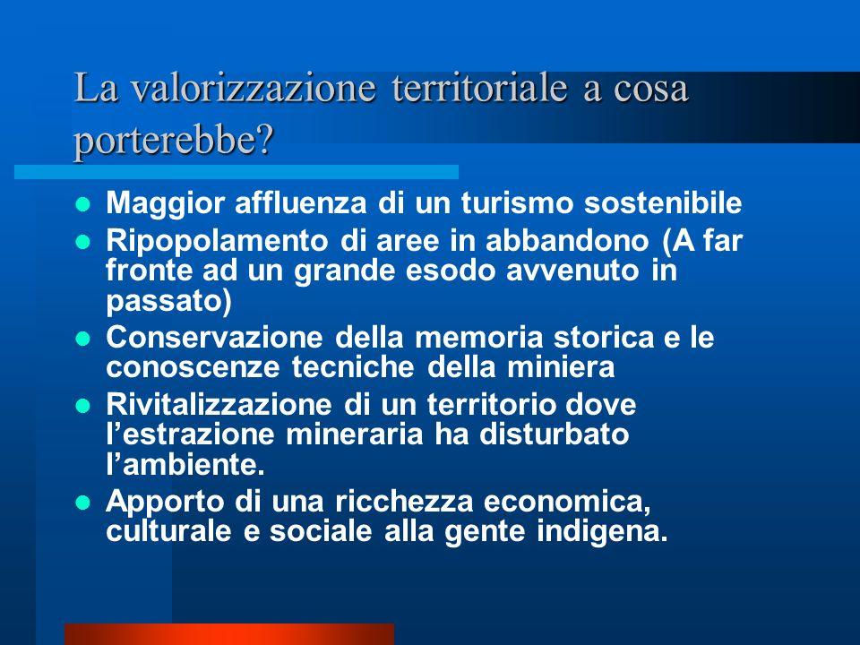 La valorizzazione territoriale a cosa porterebbe? Maggior affluenza di un turismo sostenibile Ripopolamento di aree in abbandono (A far fronte ad un g