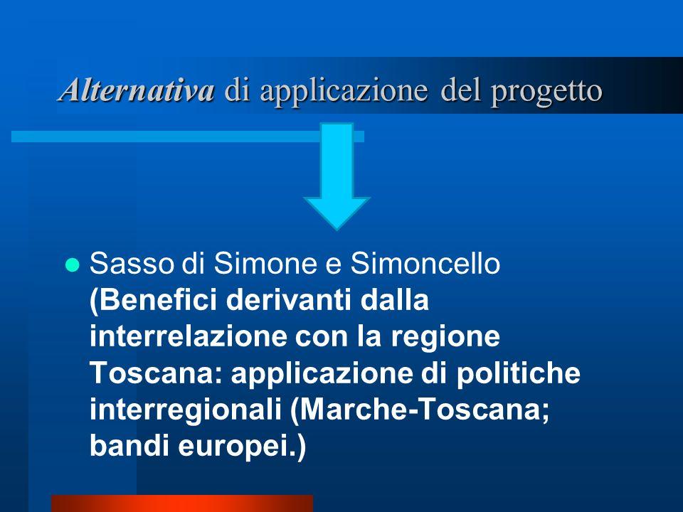 Alternativa di applicazione del progetto Sasso di Simone e Simoncello (Benefici derivanti dalla interrelazione con la regione Toscana: applicazione di politiche interregionali (Marche-Toscana; bandi europei.)