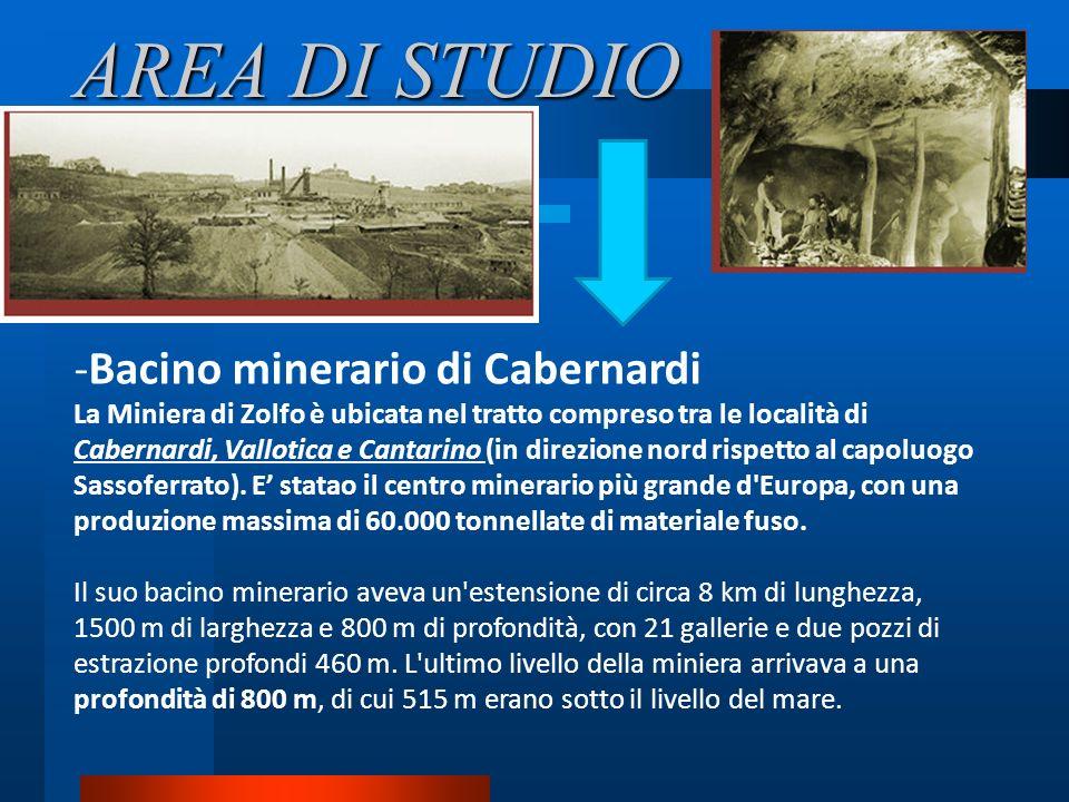 AREA DI STUDIO -Bacino minerario di Cabernardi La Miniera di Zolfo è ubicata nel tratto compreso tra le località di Cabernardi, Vallotica e Cantarino