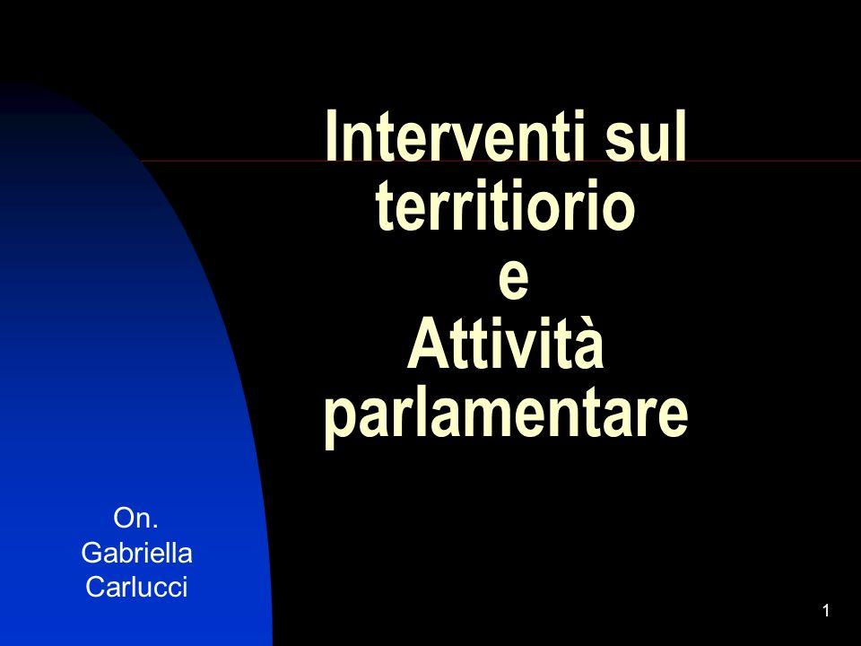1 Interventi sul territiorio e Attività parlamentare On. Gabriella Carlucci