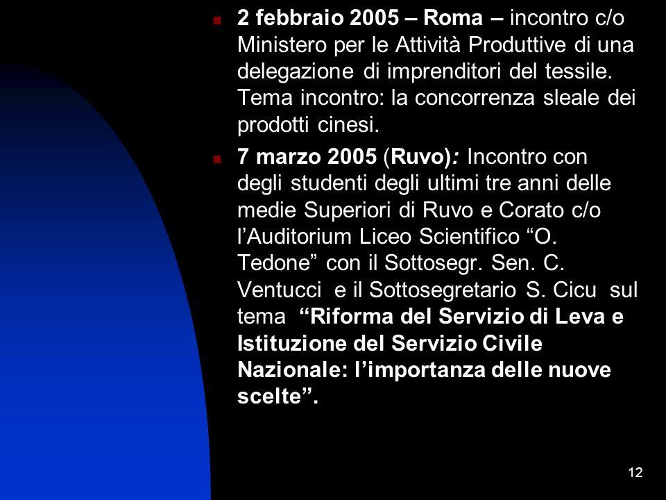 12 2 febbraio 2005 – Roma – incontro c/o Ministero per le Attività Produttive di una delegazione di imprenditori del tessile.
