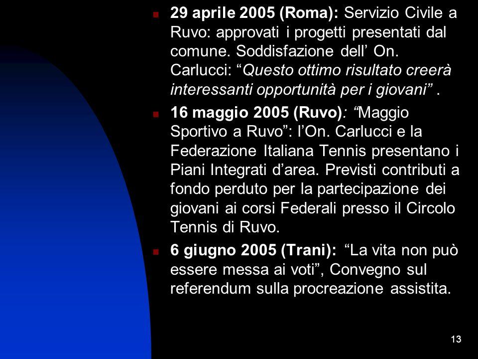 13 29 aprile 2005 (Roma): Servizio Civile a Ruvo: approvati i progetti presentati dal comune.