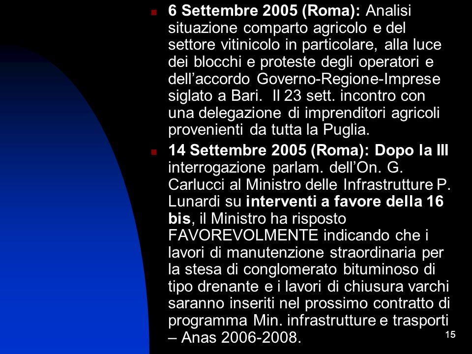 15 6 Settembre 2005 (Roma): Analisi situazione comparto agricolo e del settore vitinicolo in particolare, alla luce dei blocchi e proteste degli operatori e dellaccordo Governo-Regione-Imprese siglato a Bari.