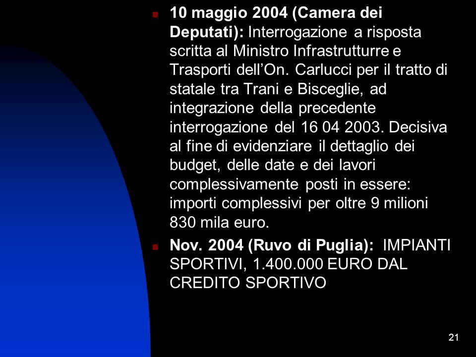 21 10 maggio 2004 (Camera dei Deputati): Interrogazione a risposta scritta al Ministro Infrastrutturre e Trasporti dellOn.