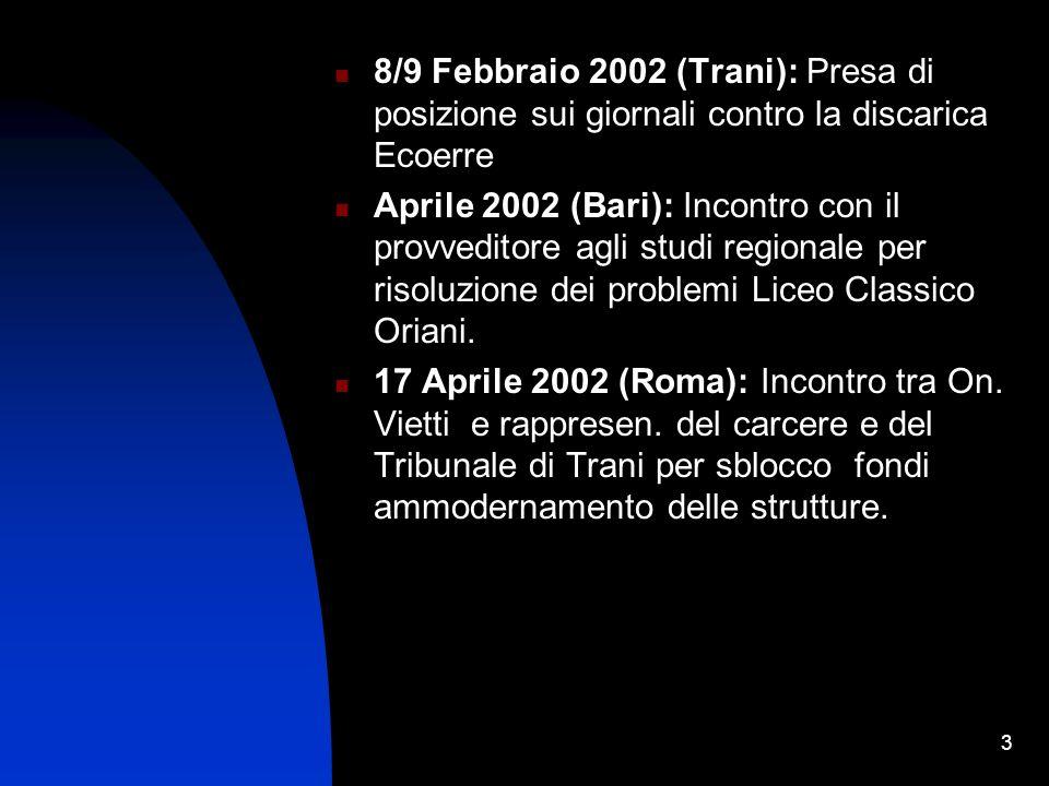 3 8/9 Febbraio 2002 (Trani): Presa di posizione sui giornali contro la discarica Ecoerre Aprile 2002 (Bari): Incontro con il provveditore agli studi regionale per risoluzione dei problemi Liceo Classico Oriani.