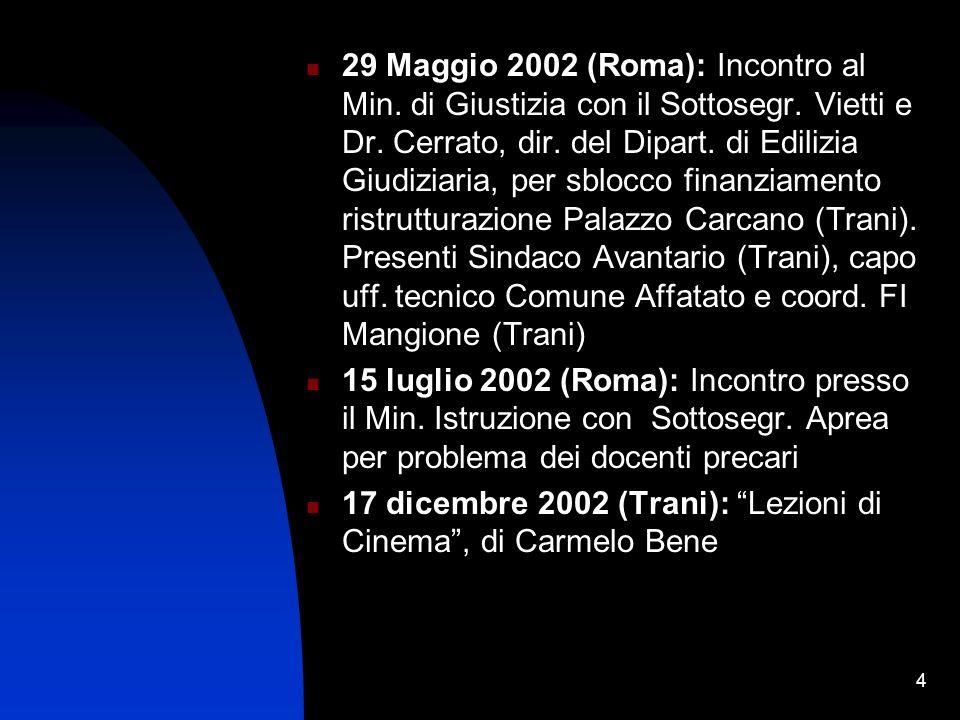 4 29 Maggio 2002 (Roma): Incontro al Min.di Giustizia con il Sottosegr.