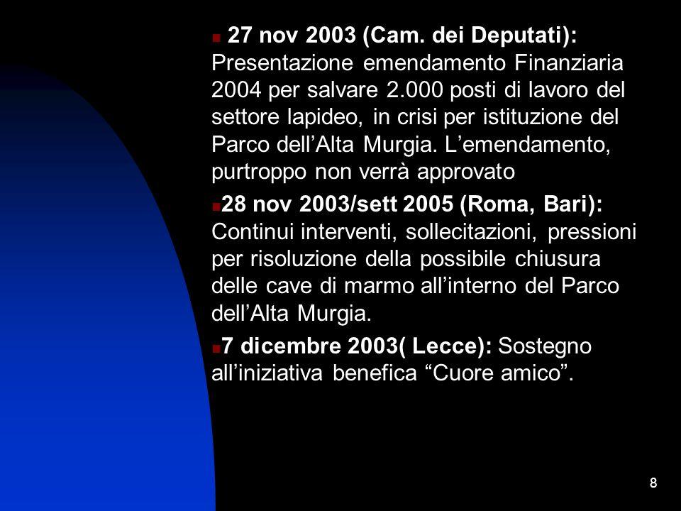 19 16 maggio 2003 (Trani): Inaugurazione nuova sede del Consorzio Universitario For.com., appartenente alla I Università on-line italiana diventata tale grazie all On.