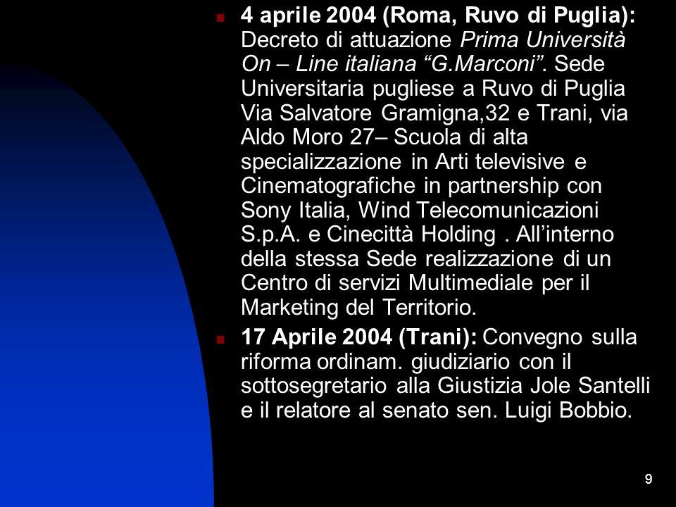 9 4 aprile 2004 (Roma, Ruvo di Puglia): Decreto di attuazione Prima Università On – Line italiana G.Marconi.