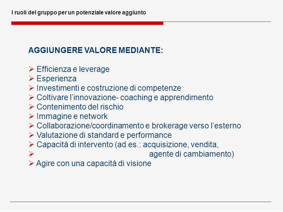 I ruoli del gruppo per un potenziale valore aggiunto AGGIUNGERE VALORE MEDIANTE: Efficienza e leverage Esperienza Investimenti e costruzione di compet