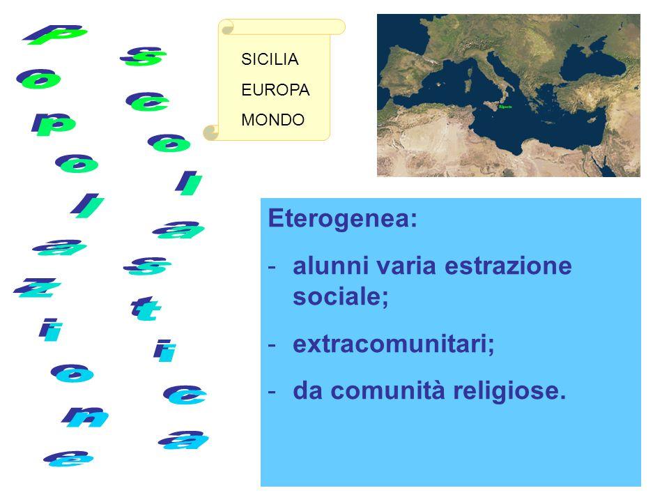 Eterogenea: - -alunni varia estrazione sociale; - -extracomunitari; - -da comunità religiose.