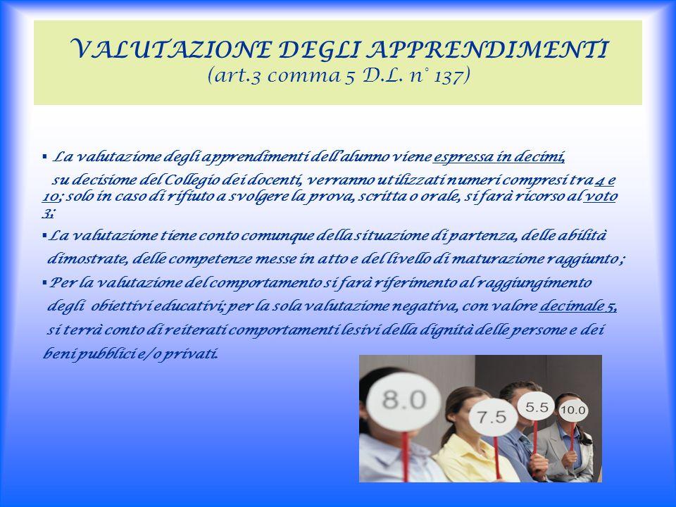 VALUTAZIONE DEGLI APPRENDIMENTI (art.3 comma 5 D.L.