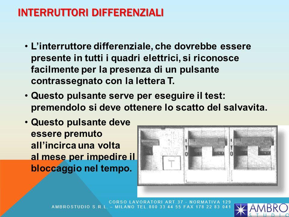 INTERRUTTORI DIFFERENZIALI Linterruttore differenziale, che dovrebbe essere presente in tutti i quadri elettrici, si riconosce facilmente per la prese