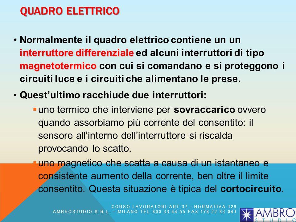 QUADRO ELETTRICO interruttore differenziale magnetotermicoNormalmente il quadro elettrico contiene un un interruttore differenziale ed alcuni interrut