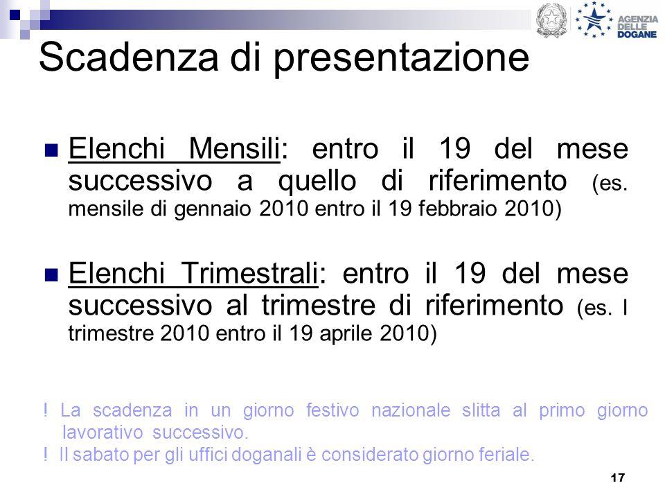 17 Scadenza di presentazione Elenchi Mensili: entro il 19 del mese successivo a quello di riferimento (es. mensile di gennaio 2010 entro il 19 febbrai