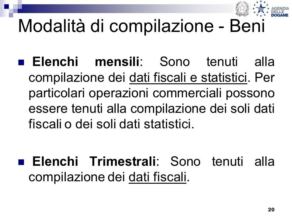 20 Modalità di compilazione - Beni Elenchi mensili: Sono tenuti alla compilazione dei dati fiscali e statistici. Per particolari operazioni commercial