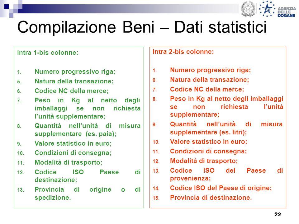 22 Compilazione Beni – Dati statistici Intra 1-bis colonne: 1. Numero progressivo riga; 5. Natura della transazione; 6. Codice NC della merce; 7. Peso