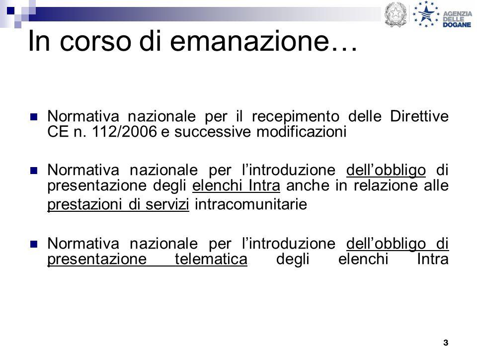 3 In corso di emanazione… Normativa nazionale per il recepimento delle Direttive CE n. 112/2006 e successive modificazioni Normativa nazionale per lin