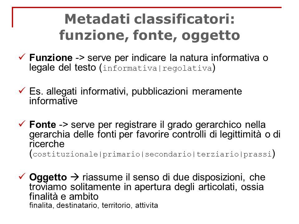 Metadati classificatori: funzione, fonte, oggetto Funzione -> serve per indicare la natura informativa o legale del testo ( informativa|regolativa ) E
