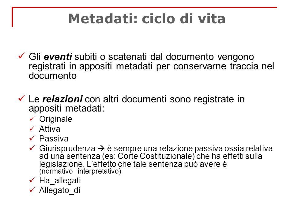 Metadati: ciclo di vita Gli eventi subiti o scatenati dal documento vengono registrati in appositi metadati per conservarne traccia nel documento Le r