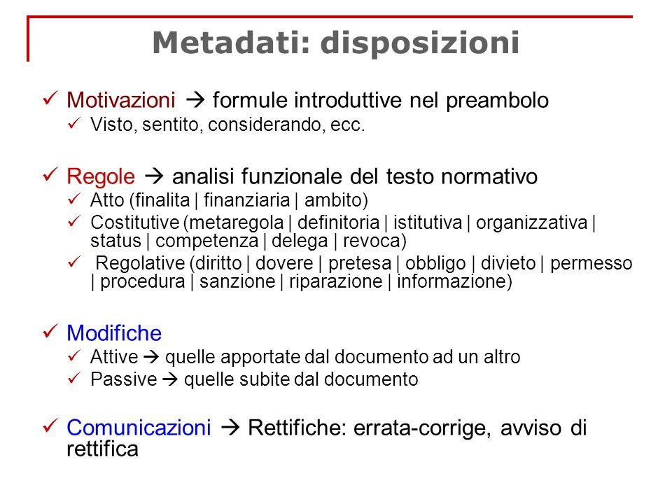 Metadati: disposizioni Motivazioni formule introduttive nel preambolo Visto, sentito, considerando, ecc. Regole analisi funzionale del testo normativo