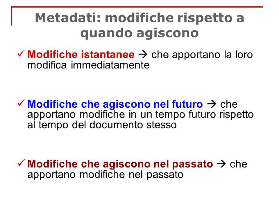 Metadati: modifiche rispetto a quando agiscono Modifiche istantanee che apportano la loro modifica immediatamente Modifiche che agiscono nel futuro ch