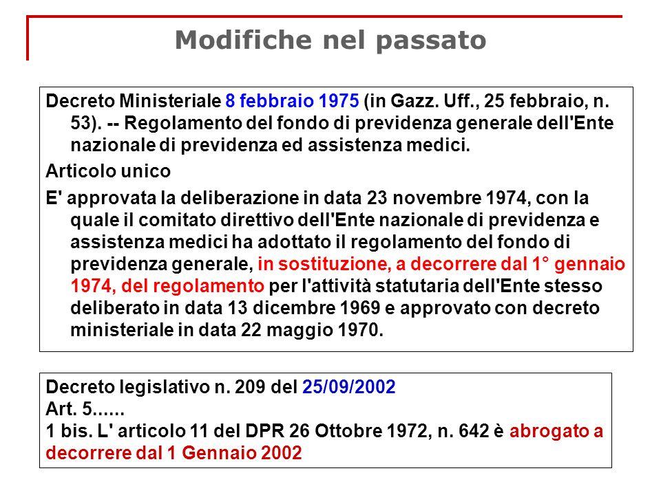 Modifiche nel passato Decreto Ministeriale 8 febbraio 1975 (in Gazz. Uff., 25 febbraio, n. 53). -- Regolamento del fondo di previdenza generale dell'E