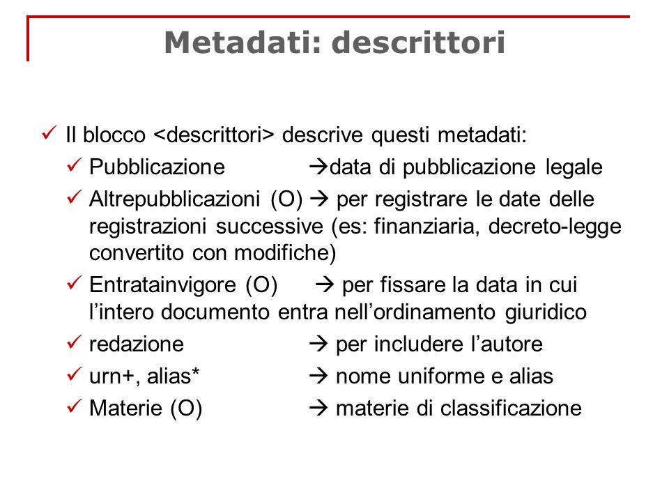 Metadati: descrittori Il blocco descrive questi metadati: Pubblicazione data di pubblicazione legale Altrepubblicazioni (O) per registrare le date del