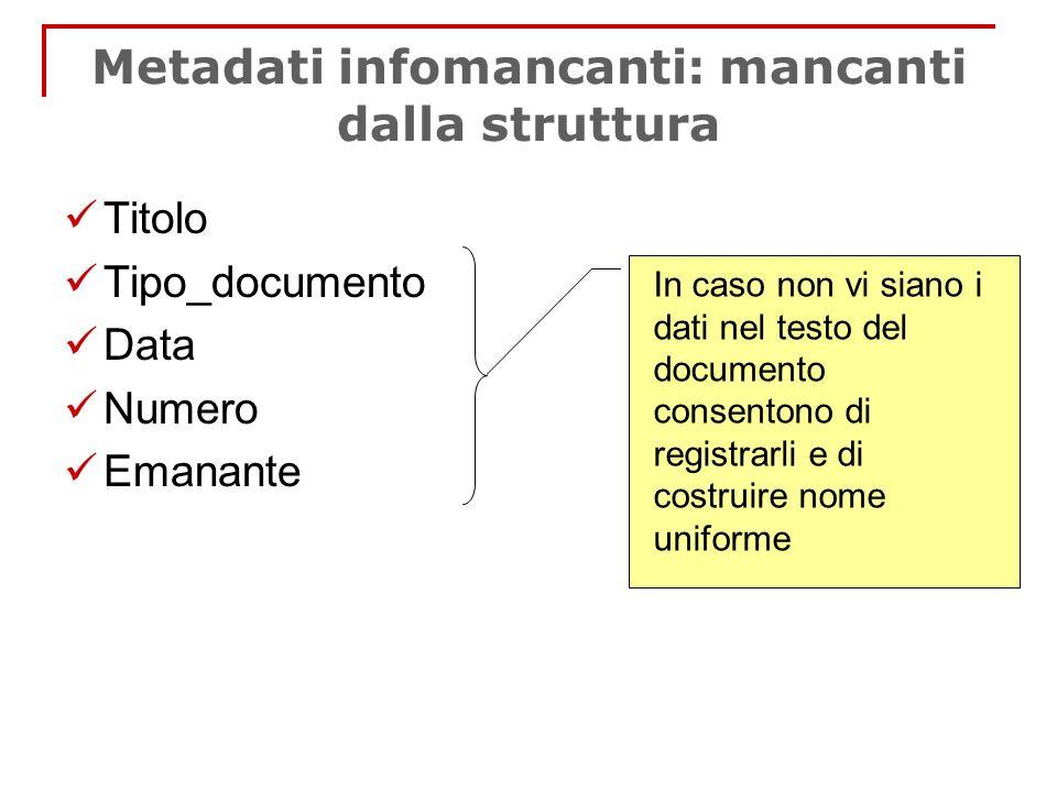 Metadati infomancanti: mancanti dalla struttura Titolo Tipo_documento Data Numero Emanante In caso non vi siano i dati nel testo del documento consent