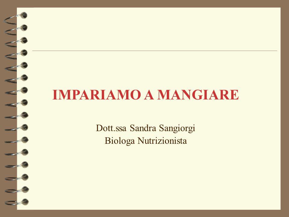 IMPARIAMO A MANGIARE Dott.ssa Sandra Sangiorgi Biologa Nutrizionista