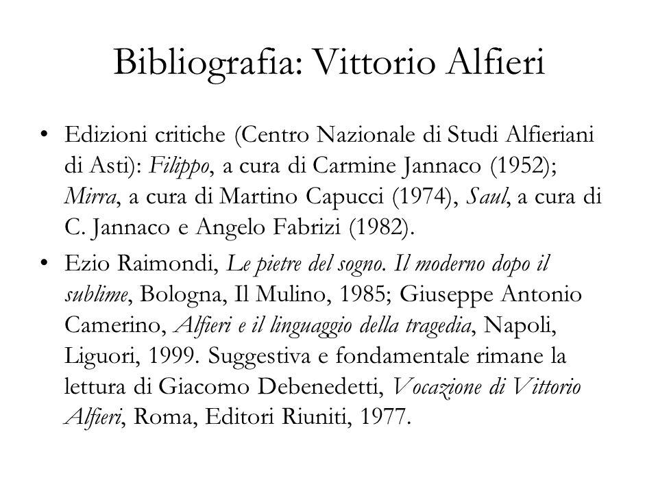 Bibliografia: Vittorio Alfieri Edizioni critiche (Centro Nazionale di Studi Alfieriani di Asti): Filippo, a cura di Carmine Jannaco (1952); Mirra, a c