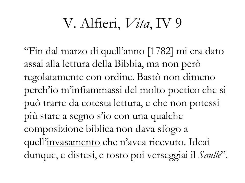 V. Alfieri, Vita, IV 9 Fin dal marzo di quellanno [1782] mi era dato assai alla lettura della Bibbia, ma non però regolatamente con ordine. Bastò non
