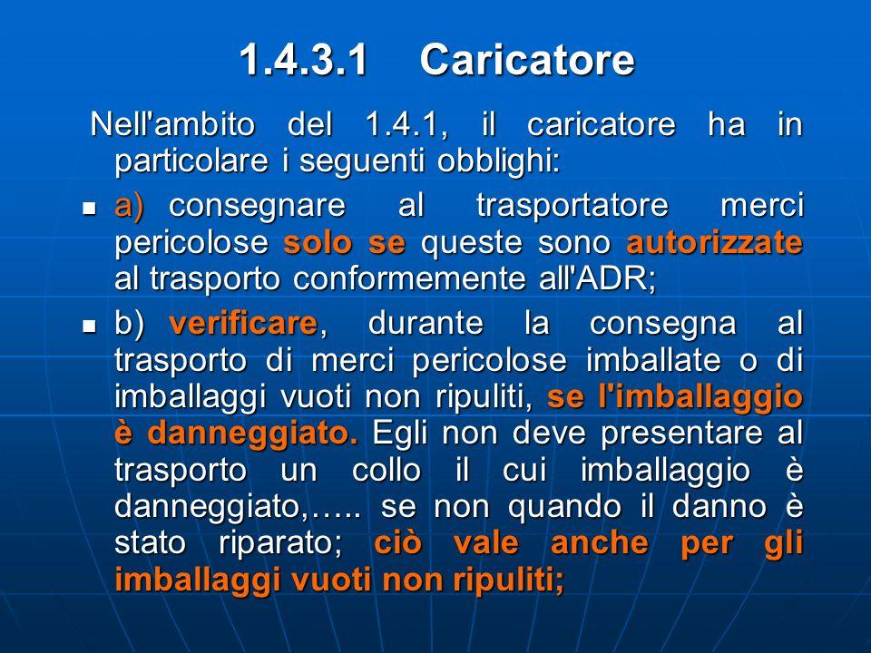 1.4.3.1 Caricatore Nell'ambito del 1.4.1, il caricatore ha in particolare i seguenti obblighi: Nell'ambito del 1.4.1, il caricatore ha in particolare