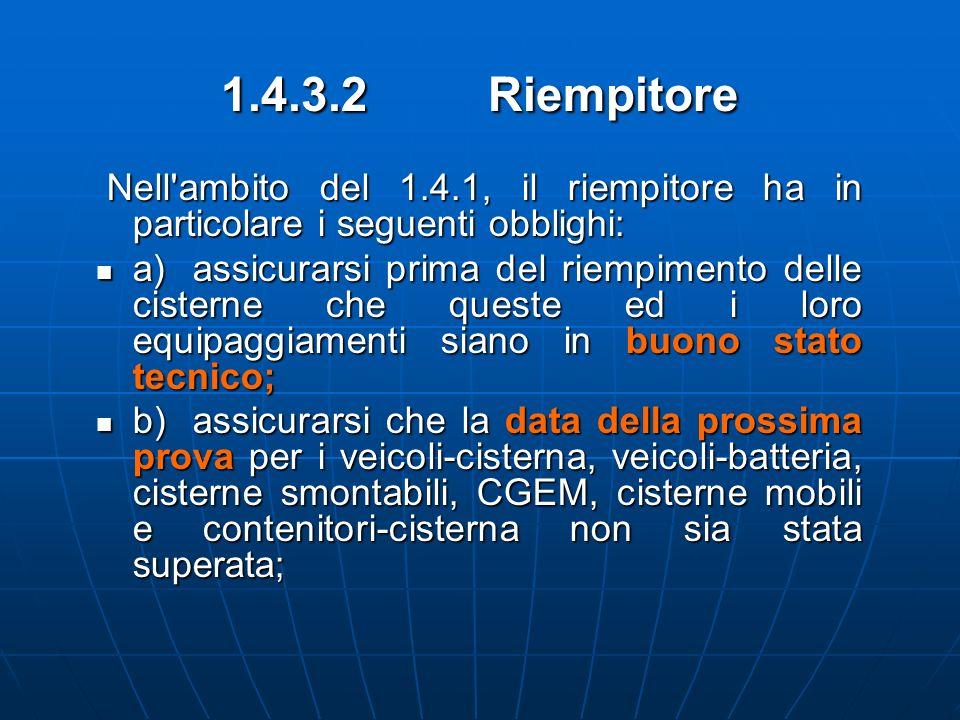 1.4.3.2 Riempitore Nell'ambito del 1.4.1, il riempitore ha in particolare i seguenti obblighi: Nell'ambito del 1.4.1, il riempitore ha in particolare