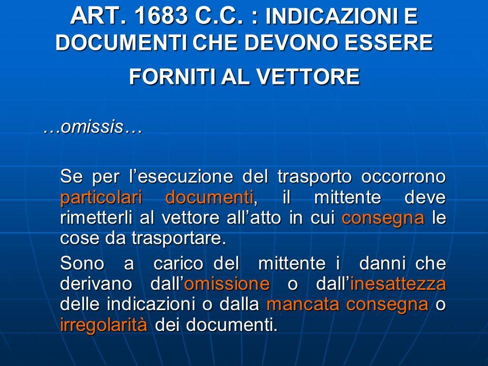 ART. 1683 C.C. : INDICAZIONI E DOCUMENTI CHE DEVONO ESSERE FORNITI AL VETTORE …omissis… Se per lesecuzione del trasporto occorrono particolari documen